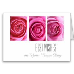 Best wishes, name day card pink roses on white