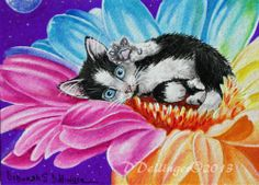 ACEO Tuxedo Cat Kitten Fairy Angel Flower Moon Original Painting by Ddellinger   eBay - Sold for $335.00 - mike3909 Artist Trading Cards, Atc, Cute Cartoon, Tuxedo, Cats And Kittens, Original Paintings, Art Pieces, Cartoons, Fairy