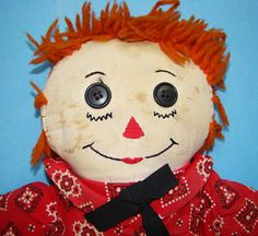 C1950-60 Hand Made Raggedy Andy Doll Orange by AmericanBeautyDolls