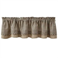 Black/Oatmeal Stoneboro Lined Layered Curtain Valance 72 x 16 Country Kitchen Curtains, Country Style Curtains, Farmhouse Curtains, Small Curtains, Long Shower Curtains, Pink Curtains, Decorative Curtain Rods, Custom Made Curtains, Kitchen Decor Themes