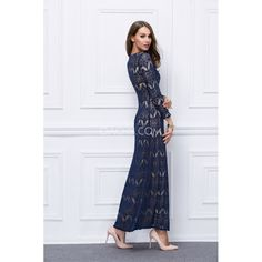 Elegant Jewel 3/4 Sleeve Sheath Ankle-Length Evening Dress Vintage Lace 2017 - OACHY The Boutique #sheath, #evening, #jewel, #vintage, #dress
