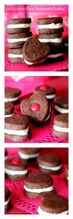 Home-made Heart Oreo Sandwich Cookies!  {Cuteness Overload} via @https://www.pinterest.com/BaknChocolaTess/
