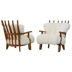 Guillerme et Chambron Pair of Armchairs with White Fur, circa 1950
