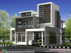 4 bedroom flat roof home 3001 sq-ft (Kerala home design) Bungalow House Design, House Front Design, Modern House Design, Contemporary House Plans, Modern House Plans, Modern Houses, Indian House Plans, Kerala House Design, Kerala Houses
