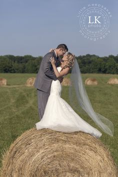Hay bale as prop for wedding photography. Southern Illinois wedding portraits. Photo by Little Keepsakes Photography. http://www.facebook.com/lkphoto85