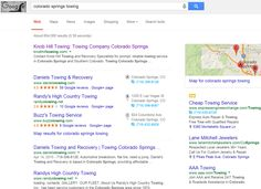 "Infront Webworks client Knobhill Towing ranking first page of Google under term ""Colorado Springs Towing""."