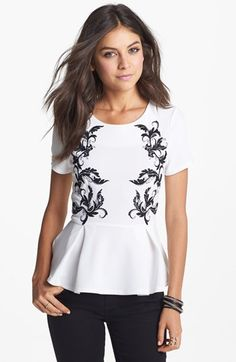 Lush Embroidered Peplum Top (Juniors) available at #Nordstrom
