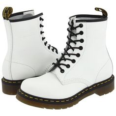 Dr. Martens 1460 W (White Smooth) Women's Boots ($94) ❤ liked on Polyvore featuring shoes, boots, ankle booties, zapatos, ankle boots, print boots, white bootie, white bootie boots, white short boots and white booties