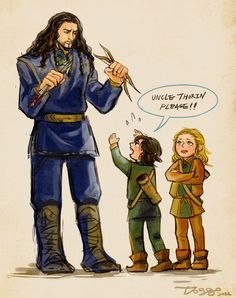Little Fili and Kili. unfortunately, this makes Thorin look really tall, which we know is not the case X) but still, it's adorable :)