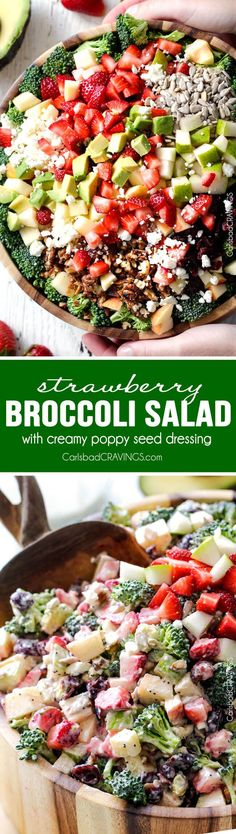 Strawberry Broccoli Salad will be one of the best salads that you make! The perfect easy potluck or side dish packed with crunchy pears, apples, sunflower seeds, sweet dried cranberries, creamy avocado, and salty feta! The textures and flavors are out of this world!