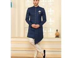 Wine Color Solid Indo Western / Sherwani with Churidar for men Sherwani, Churidar, Westerns, Indian Fashion, Womens Fashion, Maroon Color, Mens Suits, Menswear, Dresses For Work