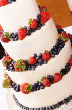 """Anniversary White with Strawberry Summer Fruit, White or Chocolate,Single, 2, 3, or 4 Tier, Round 6"""", 8"""",or 10"""", Flat, 1/4, 1/2, or Full Sheet"""