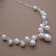Crochet wire and pearl Necklace sterling silver chain by lizix26