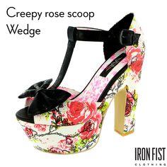 아이언피스트 creepy rose scoop wedge  #ironfist #아이언피스트 #펑키 #유니크 #여자구두 #웨지힐