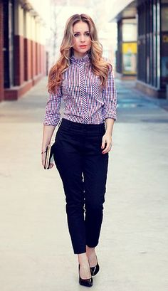 Office fashion | Strict checked blouse with high waisted trousers