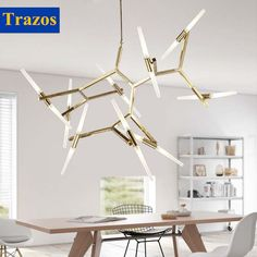 280.01$  Watch now - http://ali7nk.worldwells.pw/go.php?t=32652176477 - Modern Suspension Spider Pendant Lights With Golden Heads Loft Industrial Satellite LED Pendant Lamps For Living Room & Bar