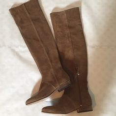 """Free People Suede Over the Knee Boots chestnut colored suede OTK boots from Free People. Feature whip stitch detailing and an 8.5"""" zipper on inside of boot shaft. these are essentially new - tried on/ worn around house once but never outside. suede has natural, intentional variations and slightly distressed vibe but did see small 1/4"""" mark on shaft of right boot (4th photo). 1"""" heel with approx. 22"""" height and 7"""" flat at top. Size 37 euro - estimated at 6.5 US but please check measurements…"""