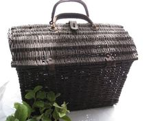 French Wicker Basket with Leather Handles