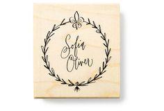 One Kings Lane - Uniquely Yours - Fleur-de-lis Garland Custom Stamp