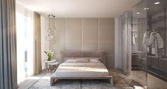 Chambre avec dressing et tête de lit matelassée