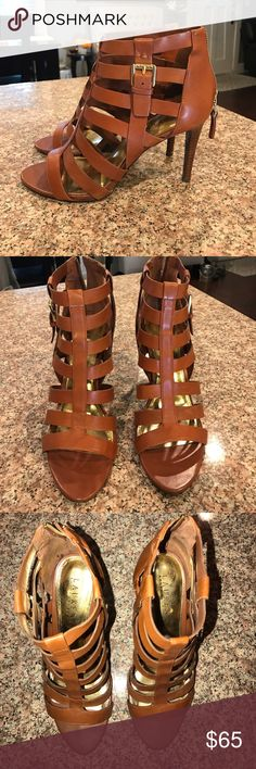 Ralph Lauren caged sandal heels Ralph Lauren caged sandal heels. Excellent condition. Worn once. Perfect for summer! Lauren Ralph Lauren Shoes Heels