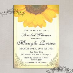 Sunflower Bridal Shower Invitation Printable Digital File or Printed Invitations Pale Yellow Ivory Vintage Shabby Chic Rustic Design No.522