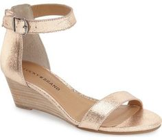 """Lucky Brand 'Jorey' Wedge Sandal (Women) - A stacked wedge heel and a belted ankle strap add contemporary sophistication and versatility to this open-toe sandal.      2"""" heel.     Adjustable ankle strap with buckle closure/back zip closure.     Cushioned insole."""