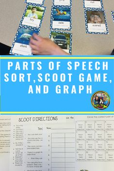 Only a $1 for a limited time! This is a great PARTS of SPEECH sorting activity to do with your students! There are 24 photographic cards to sort into adjectives, nouns and verbs. You can have the students sort the cards and graph the different parts of speech, and answer math questions. Then your students can play Scoot. #firstgrade#partsofspeech#games#sorting#activities#centers