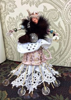 Assemblage art doll.Assemblage art.Found object art.Mixed media art.Sculpture assemblage.Recycled art.Vintage cup art doll.Handmade art doll by VintageShopCreations on Etsy