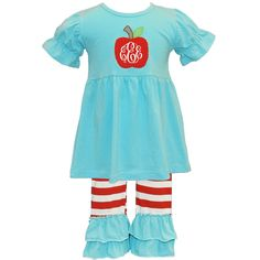 Applique Apple Red and Aqua Ruffled Knit Pant Set