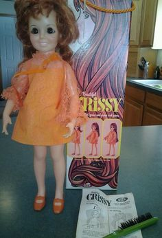 VINTAGE CRISSY RED HAIR DOLL BY IDEAL TOY CO IN ORIGINAL BOX and BRUSH #Dolls