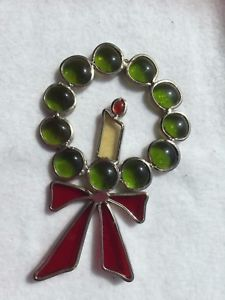 Stained-Glass-Christmas-Wreath-Sun-Catcher-Ornament-21945-Xmas-Holiday