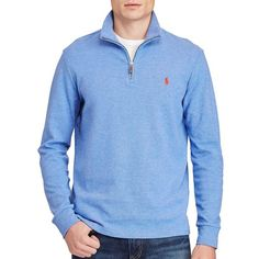Polo Ralph Lauren Cotton-Blend Half-Zip Pullover ($109) ❤ liked on Polyvore featuring men's fashion, men's clothing, men's hoodies, dock blue and polo ralph lauren