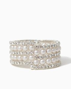 Diamonds and Pearls Coil Bracelet | RSVP Special Occasion | charming charlie