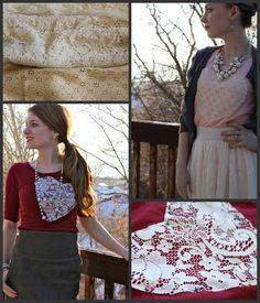 DIY Clothes DIY Refashion DIY: Lovey Lace Sweetheart Shirt - Refashioned t-shirt