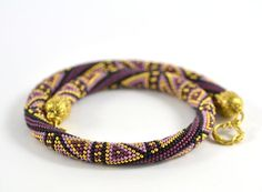 Bead Crochet Necklace East sweets Violet  Lilac  by LeeMarina, $80.60
