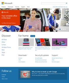 microsoft.com homepage for desktop, responsive, spacious, clean, simple