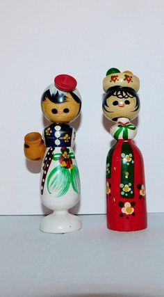 Vintage Asian Wood Bobble Head Dolls  Kokeshi Folk Art Dolls
