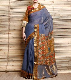 Grey & Brown Chequered Mangalgiri Cotton Saree With Zari & Kalamkari