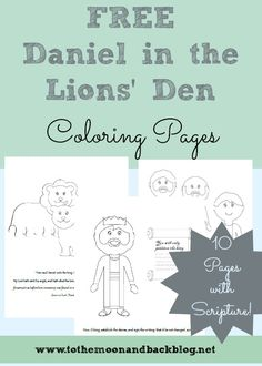 A 10 page set of Daniel in the lions' den coloring pages to use while teaching your child the story of this great man of faith.