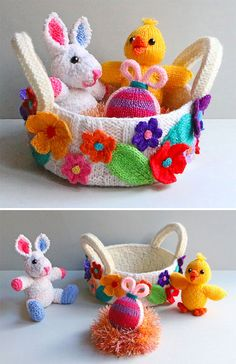 Knitting Pattern for Easter Basket with Bunny, Chick, and Egg Amigurumi Knitted Bunnies, Knitted Animals, Knitted Dolls, Animal Knitting Patterns, Crochet Flower Patterns, Easter Toys, Easter Crafts, Origami, Boyfriend Crafts