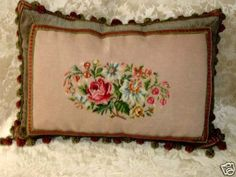 Pretty Vintage Floral 1 of A Kind Needlepoint Pillow | eBay