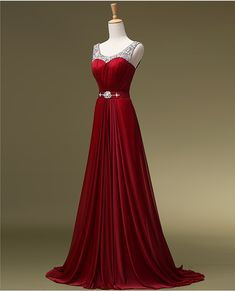 Dark Red Long Chiffon Prom Dresses Scoop Neck Crystals Women Party Dresses