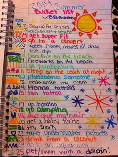 The summer bucket list I made for summer 2014!