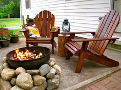 Perfect Adirondack Chairs And Fire Pit I Even Like The Chunk Of Wood For A Table