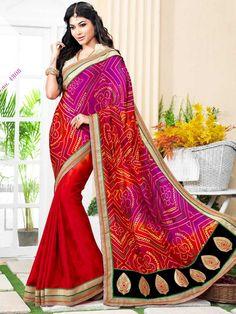 Red with Pink Bandhej Print Embroidered Bandhni Saree