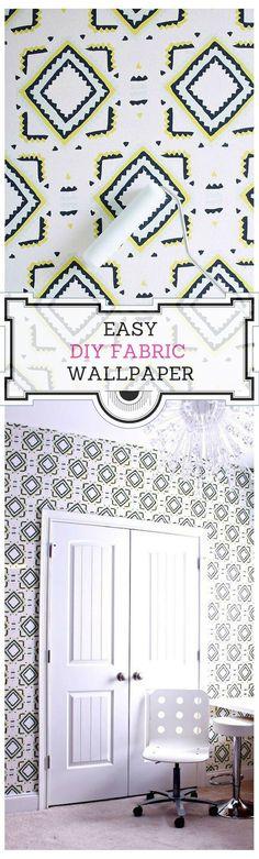 DIY Fabric Wallpaper - Chaotically Creative