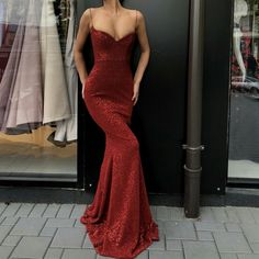 Sexy Spaghetti Straps V Neck Dark Red Sequins Long Prom Dress, Mermaid Evening Party Dress - Mermaid Dresses Elegant Dresses, Pretty Dresses, Sexy Dresses, Beautiful Dresses, Fashion Dresses, Summer Dresses, Long Dresses, Red Prom Dresses, Dress Long