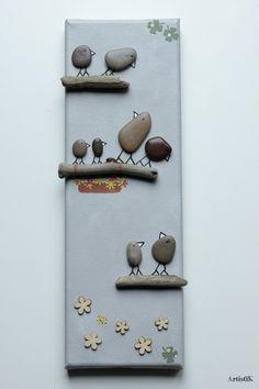 Tableau rectangulaire galets oiseaux bois flotté fond gris dessin humoristique : Décorations murales par artistik