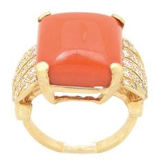 70's Coral and Diamond Ring | From a unique collection of vintage cocktail rings at http://www.1stdibs.com/jewelry/rings/cocktail-rings/